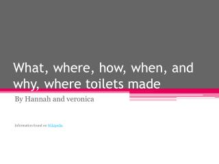 What, where, how, when, and why, where toilets made