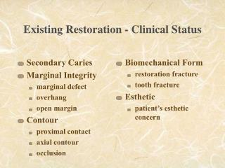Existing Restoration - Clinical Status