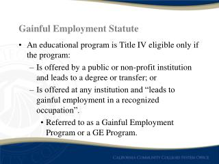 Gainful Employment Statute