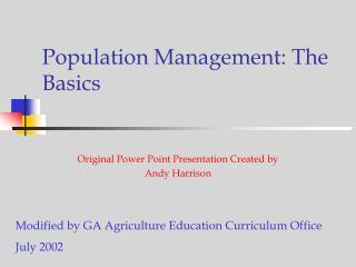 Population Management: The Basics