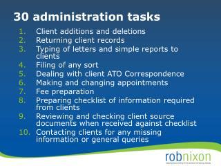 30 administration tasks