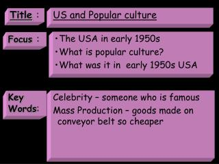 US and Popular culture