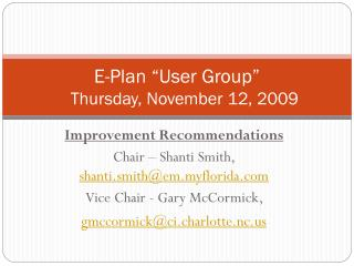 "E-Plan ""User Group"" 	Thursday, November 12, 2009"