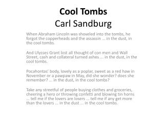 Cool Tombs Carl Sandburg