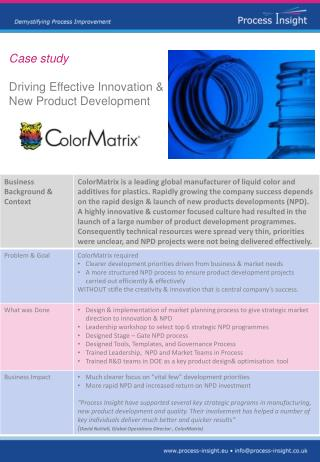 Case study  Driving Effective Innovation &  New Product Development