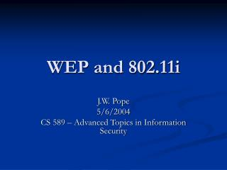 WEP and 802.11i