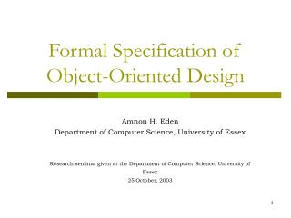 Formal Specification of  Object-Oriented Design