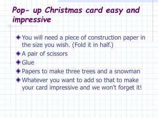 Pop- up Christmas card easy and impressive