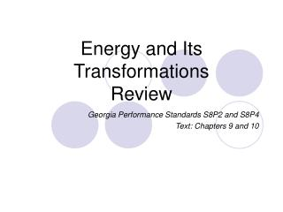 Energy and Its Transformations Review