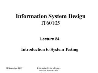 Information System Design IT60105