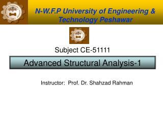 N-W.F.P University of Engineering & Technology Peshawar