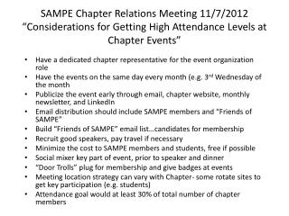 Have a dedicated chapter representative for the event organization role