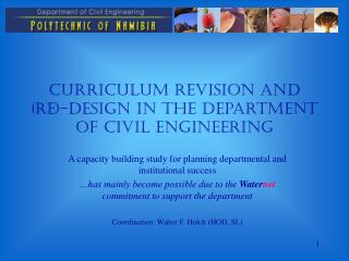 Curriculum Revision and (Re)-Design in the Department of Civil Engineering