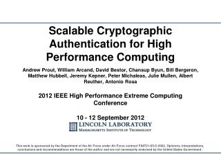 Scalable Cryptographic Authentication for High Performance Computing