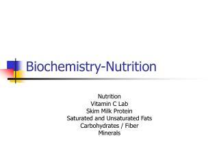 Biochemistry-Nutrition