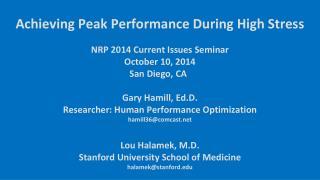 NRP 2014 Current Issues Seminar  October 10, 2014        San Diego, CA   Gary Hamill,  Ed.D .