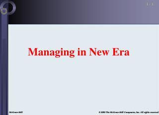 Managing in New Era
