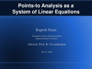 Points-to Analysis as a  System of Linear Equations