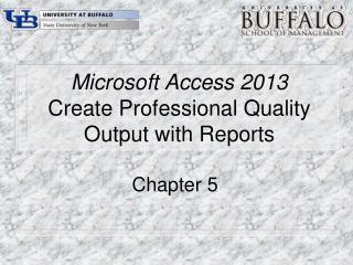 Microsoft Access 2013 Create Professional Quality Output with Reports