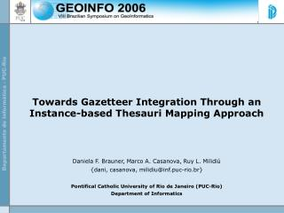 Towards Gazetteer Integration Through an Instance-based Thesauri Mapping Approach