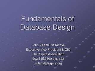 Fundamentals of Database Design