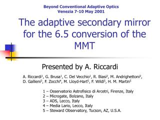 The adaptive secondary mirror for the 6.5 conversion of the MMT