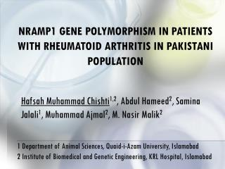 NRAMP1 Gene Polymorphism in Patients with Rheumatoid Arthritis in Pakistani Population