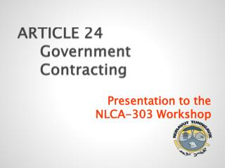 ARTICLE 24  Government   Contracting