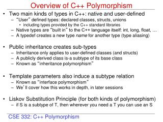 Overview of C++ Polymorphism