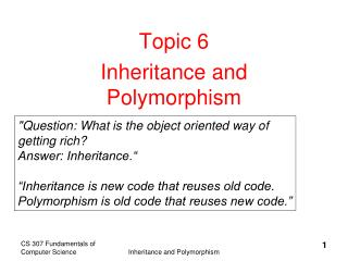 Topic 6 Inheritance and Polymorphism