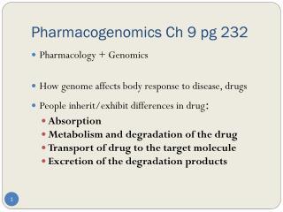 Pharmacogenomics Ch 9 pg 232