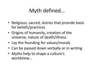 Myth defined…
