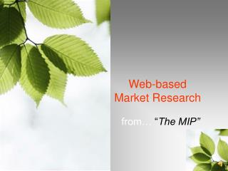 Web-based  Market Research