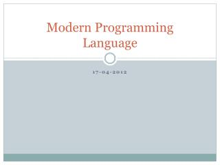 Modern Programming Language