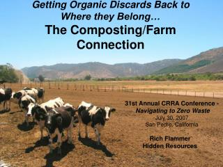 Getting Organic Discards Back to  Where they Belong… The Composting/Farm Connection
