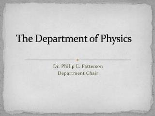 The Department of Physics