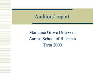 Auditors' report
