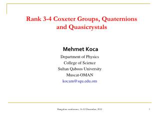 Rank 3-4 Coxeter Groups, Quaternions and  Quasicrystals
