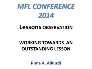 MFL CONFERENCE  2014