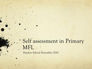 Self assessment in Primary MFL