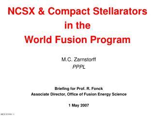 NCSX & Compact Stellarators  in the  World Fusion Program