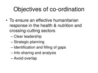 Objectives of co-ordination