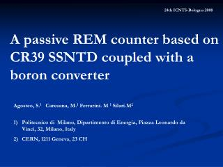 A passive REM counter based on CR39 SSNTD coupled with a boron converter
