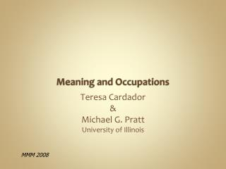 Meaning and Occupations