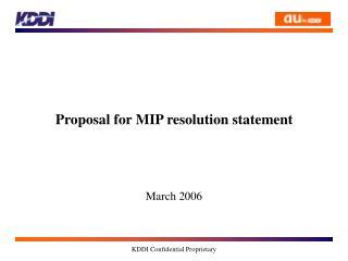 Proposal for MIP resolution statement