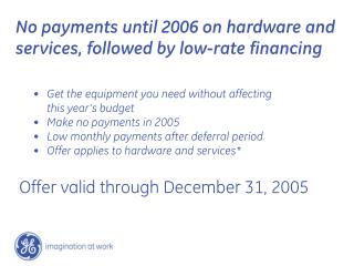 Offer valid through December 31, 2005