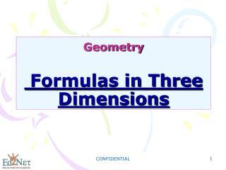 Geometry  Formulas in Three Dimensions
