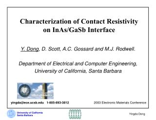Characterization of Contact Resistivity  on InAs/GaSb Interface