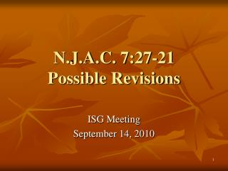 N.J.A.C. 7:27-21 Possible Revisions