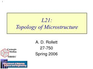L21:  Topology of Microstructure